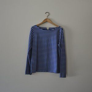J.Crew Womens Striped Boatneck T-Shirt Size L